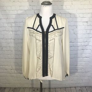 Venus embellished cutout blouse w/ zip front